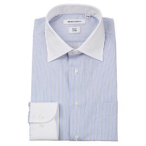 ドレスシャツ/長袖/メンズ/クレリック&ワイドカラードレスシャツ ストライプ 〔EC・FIT〕 ホワイト×ブルー|uktsc