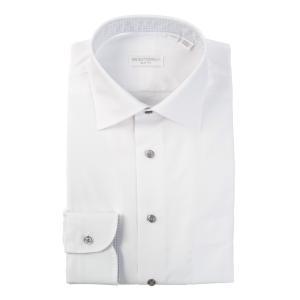 ドレスシャツ/長袖/メンズ/THE SUIT COMPANY Red/ワイドカラードレスシャツ 織柄〔EC・SLIM FIT〕 ホワイト