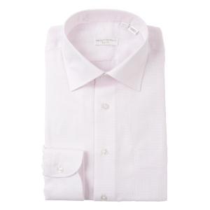 ドレスシャツ/長袖/メンズ/THE SUIT COMPANY Red/ワイドカラードレスシャツ〔EC・SLIM FIT〕 ピンク×ホワイト uktsc
