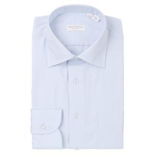 ドレスシャツ/長袖/メンズ/THE SUIT COMPANY Red/ワイドカラードレスシャツ 織柄〔EC・SLIM FIT〕 ブルー|uktsc
