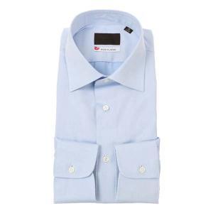ドレスシャツ/長袖/メンズ/JAPAN MADE SHIRTS/ワイドカラードレスシャツ 織柄 サックスブルー×ホワイト uktsc