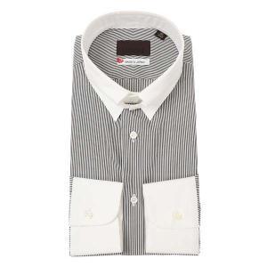 ドレスシャツ/長袖/メンズ/JAPAN MADE SHIRTS/クレリック&タブカラードレスシャツ ストライプ チャコールグレー×ホワイト|uktsc