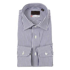 ドレスシャツ/長袖/メンズ/JAPAN MADE SHIRTS/ワイドカラードレスシャツ ストライプ ネイビー×ホワイト uktsc