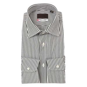 ドレスシャツ/長袖/メンズ/JAPAN MADE SHIRTS/ワイドカラードレスシャツ ストライプ チャコールグレー×ホワイト uktsc