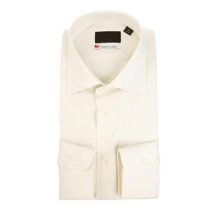 ドレスシャツ/長袖/メンズ/JAPAN MADE SHIRTS/ワイドカラードレスシャツ 無地 オフホワイト|uktsc