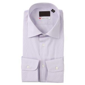 ドレスシャツ/長袖/メンズ/JAPAN MADE SHIRTS/ワイドカラードレスシャツ ストライプ パープル×ホワイト|uktsc