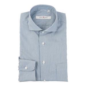 ドレスシャツ/長袖/メンズ/JAPAN QUALITY/ホリゾンタルカラードレスシャツ ストライプ ブルー×ホワイト uktsc