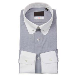 ドレスシャツ/長袖/メンズ/JAPAN FABRIC/クレリック&ラウンドピンホールカラードレスシャツ 織柄 ネイビー×ホワイト uktsc