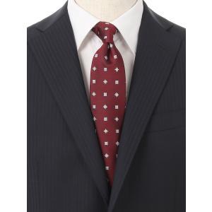 ネクタイ/レギュラータイ/メンズ/小紋×織柄ネクタイ ワイン×ブルー×ホワイト uktsc