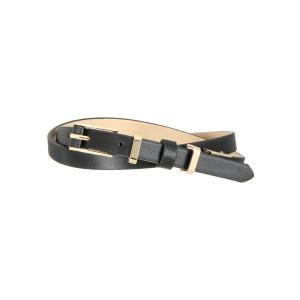 ベルト/レディース/Littlechic/スムース×型押し革巻きゴールドバックルベルト ブラック|uktsc