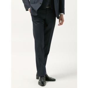 ビジネスパンツ/メンズ/春夏/blazer's bank.com/サマーライトシャンブレー ウールテーパードパンツ ネイビー uktsc