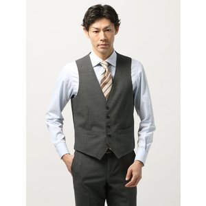 セットアップスーツ/ジレ/メンズ/春夏/blazer's bank.com/サマーライトシャンブレー ウールジレ ミディアムグレー uktsc