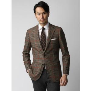 ビジネスジャケット/メンズ/秋冬/グレンチェックウールジャケット/Fabric by CANONICO/ ブラウン×ブラック×レッド|uktsc