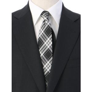ネクタイ/レギュラータイ/メンズ/チェック×ヘリンボーン柄クレリックネクタイ ブラック系|uktsc