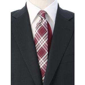 ネクタイ/レギュラータイ/メンズ/チェック×ヘリンボーン柄クレリックネクタイ レッド系|uktsc