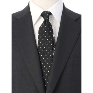 ネクタイ/レギュラータイ/メンズ/ドット×チェック柄クレリックネクタイ ブラック系|uktsc