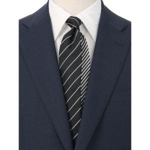 ネクタイ/レギュラータイ/メンズ/ストライプ柄 クレリックネクタイ ブラック系|uktsc