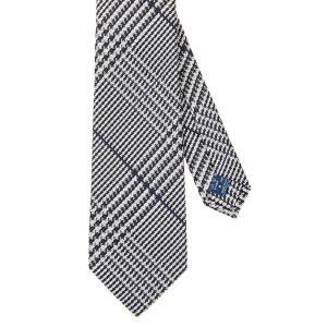 ネクタイ/レギュラータイ/メンズ/セッテピエゲ/グレンチェック柄ネクタイ ネイビー系|uktsc