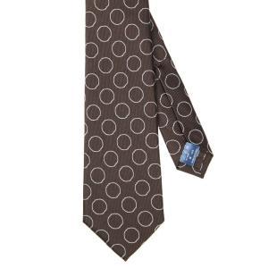 ネクタイ/レギュラータイ/メンズ/セッテピエゲ/小紋×織柄ネクタイ ブラウン系|uktsc
