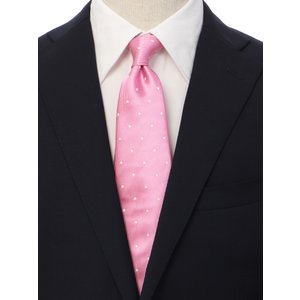 ネクタイ/レギュラータイ/メンズ/ドット×織柄ネクタイ/Fabric by ITALY/ ピンク系|uktsc