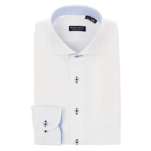 ドレスシャツ/長袖/メンズ/ホリゾンタルカラードレスシャツ 織柄 〔EC・CLASSIC SLIM-FIT〕 ホワイト uktsc