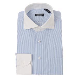 ドレスシャツ/長袖/メンズ/クレリック&ホリゾンタルカラードレスシャツ ストライプ〔EC・CLASSIC SLIM-FIT〕 サックスブルー×ホワイト uktsc