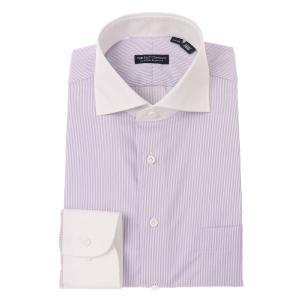 ドレスシャツ/長袖/メンズ/クレリック&ホリゾンタルカラードレスシャツ ストライプ〔EC・CLASSIC SLIM-FIT〕 パープル×ホワイト uktsc