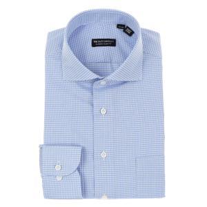 ドレスシャツ/長袖/メンズ/ワイドカラードレスシャツ ハウンドトゥース 〔EC・CLASSIC SLIM-FIT〕 サックスブルー×ホワイト|uktsc