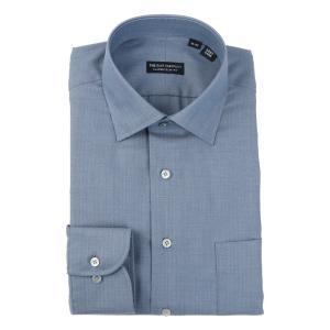 ドレスシャツ/長袖/メンズ/ワイドカラードレスシャツ ヘリンボーン 〔EC・CLASSIC SLIM-FIT〕 ブルー|uktsc
