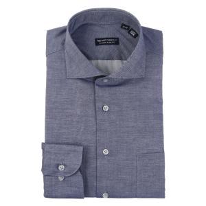 ドレスシャツ/長袖/メンズ/ホリゾンタルカラードレスシャツ 無地 〔EC・CLASSIC SLIM-FIT〕 ネイビー uktsc