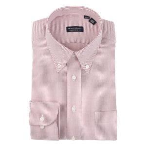ドレスシャツ/長袖/メンズ/ボタンダウンカラードレスシャツ ストライプ×織柄 〔EC・CLASSIC SLIM-FIT〕 ホワイト×レッド|uktsc