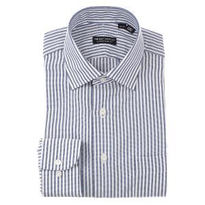 ドレスシャツ/長袖/メンズ/ワイドカラードレスシャツ ストライプ×織柄 〔EC・CLASSIC SLIM-FIT〕 ブルー×ホワイト uktsc