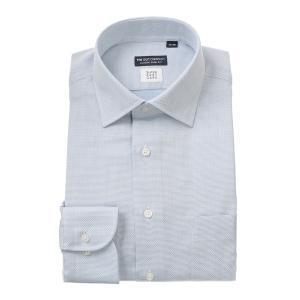 ドレスシャツ/長袖/メンズ/SUPER EASY CARE/ワイドカラードレスシャツ〔EC・CLASSIC SLIM-FIT〕 ブルー×ホワイト|uktsc