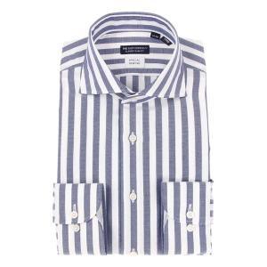ドレスシャツ/長袖/メンズ/ホリゾンタルカラードレスシャツ ロンドンストライプ 〔EC・CLASSIC SLIM-FIT〕 ネイビー×ホワイト uktsc