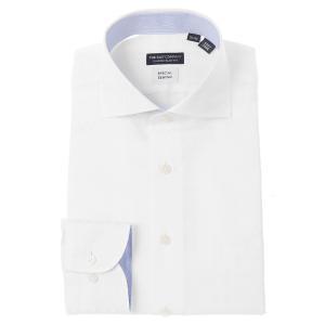 ドレスシャツ/長袖/メンズ/COOL MAX・Special sewing/ホリゾンタルカラードレスシャツ シャドーチェック ホワイト/クールビズ uktsc