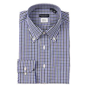 ドレスシャツ/長袖/メンズ/COOL MAX・Special sewing/ボタンダウンカラードレスシャツ ホワイト×ブルー×ブラック|uktsc