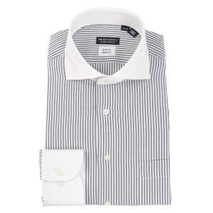 ドレスシャツ/長袖/メンズ/COOL MAX/ホリゾンタルカラードレスシャツ 〔EC・CLASSIC SLIM-FIT〕 ホワイト×ネイビー uktsc