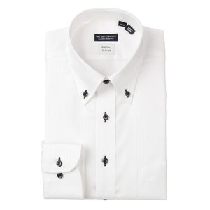 ドレスシャツ/長袖/メンズ/ボタンダウンカラードレスシャツ シャドーストライプ 〔EC・CLASSIC SLIM-FIT〕 ホワイト|uktsc