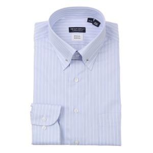 ドレスシャツ/長袖/メンズ/ピンホールカラードレスシャツ ストライプ 〔EC・CLASSIC SLIM-FIT〕 サックスブルー×ホワイト|uktsc