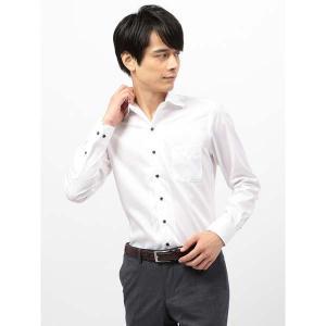 ドレスシャツ/長袖/メンズ/COOL MAX/2WAYカラードレスシャツ 織柄〔EC・CLASSIC SLIM-FIT〕 ホワイト|uktsc