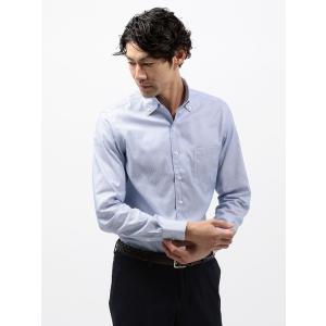ドレスシャツ/長袖/メンズ/COOL MAX/2WAYカラードレスシャツ 織柄 〔EC・CLASSIC SLIM-FIT〕 ブルー×ホワイト|uktsc
