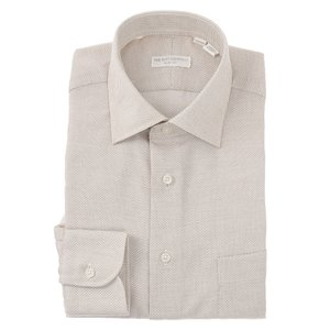 ドレスシャツ/長袖/メンズ/ワイドカラードレスシャツ 織柄 〔EC・SLIM FIT〕 ホワイト×ブラウン|uktsc