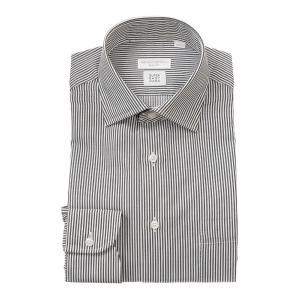 ドレスシャツ/長袖/メンズ/SUPER EASY CARE/ワイドカラードレスシャツ ストライプ 〔EC・SLIM FIT〕 チャコールグレー×ホワイト|uktsc