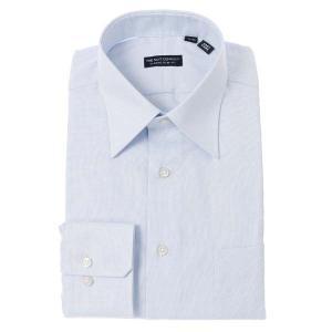 ドレスシャツ/長袖/メンズ/レギュラーカラードレスシャツ 織柄 〔EC・CLASSIC SLIM-FIT〕 サックスブルー×ホワイト|uktsc