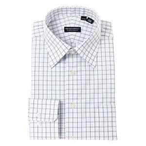 ドレスシャツ/長袖/メンズ/レギュラーカラードレスシャツ チェック 〔EC・CLASSIC SLIM-FIT〕 ホワイト×サックスブルー×ネイビー|uktsc