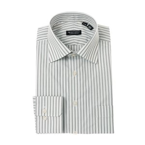 ドレスシャツ/長袖/メンズ/ワイドカラードレスシャツ ストライプ 〔EC・CLASSIC SLIM-FIT〕 ホワイト×ミディアムグレー×ライトグレー|uktsc