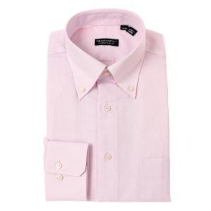 ドレスシャツ/長袖/メンズ/ボタンダウンカラードレスシャツ 織柄 〔EC・CLASSIC SLIM-FIT〕 ピンク×ホワイト|uktsc