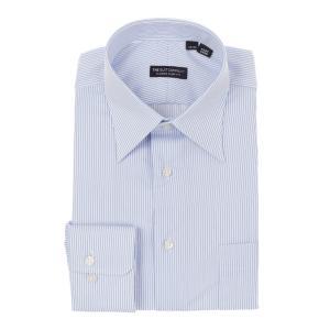 ドレスシャツ/長袖/メンズ/レギュラーカラードレスシャツ ストライプ 〔EC・CLASSIC SLIM-FIT〕 ホワイト×サックスブルー|uktsc