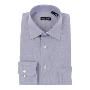 ドレスシャツ/長袖/メンズ/ワイドカラードレスシャツ ヘアラインストライプ 〔EC・CLASSIC SLIM-FIT〕 ネイビー×ホワイト|uktsc