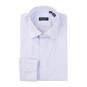 ドレスシャツ/長袖/メンズ/ワイドカラードレスシャツ ダブルストライプ 〔EC・CLASSIC SLIM-FIT〕 ホワイト×ブルー|uktsc